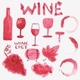 Sistema de materia del vino de la acuarela en el blanco Foto de archivo