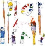 Sistema de materiales del arte stock de ilustración