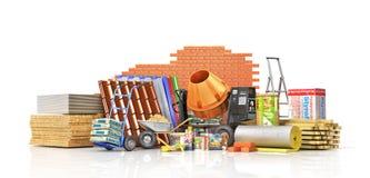 Sistema de materiales y de herramientas de construcción ilustración del vector