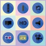 Sistema de medios iconos planos Foto de archivo libre de regalías
