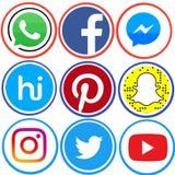 Sistema de medios iconos sociales imagen de archivo