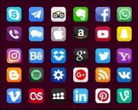 Sistema de medios iconos sociales populares stock de ilustración