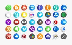 Sistema de medios iconos sociales populares ilustración del vector