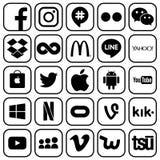 Sistema de medios y otros iconos sociales populares ilustración del vector