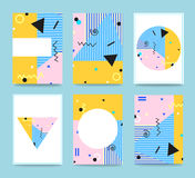 Sistema de Memphis Style Cards Tipografía para las postales stock de ilustración