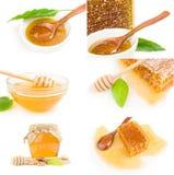 Sistema de miel en un recorte blanco del fondo Fotografía de archivo