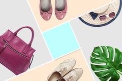 Sistema de moda de la moda de la ropa de los accesorios Accesorios de la mujer, embrague elegantes del bolso, dril de algodón, za Foto de archivo libre de regalías