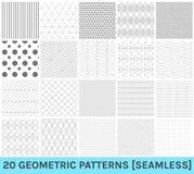 Sistema de 20 modelos azules geométricos abstractos Fotografía de archivo libre de regalías