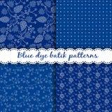Sistema de modelos azules húngaros tradicionales del batik del tinte stock de ilustración