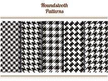 Sistema de modelos blancos y negros inconsútiles del vector del houndstooth Imagen de archivo