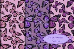 Sistema de modelos de mariposa inconsútiles ilustración del vector
