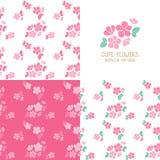 Sistema de modelos de flores rosados inconsútiles Imagen de archivo libre de regalías