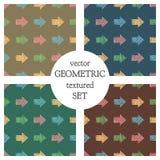 Sistema de modelos geométricos del vector inconsútil con las flechas el fondo sin fin en colores pastel con la mano dibujada text Imagenes de archivo