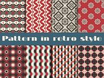 Sistema de modelos inconsútiles étnicos El modelo para el papel pintado, las tejas, las telas y los diseños stock de ilustración