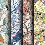 Sistema de modelos inconsútiles coloridos del tracery Curvado garabateando los fondos para la materia textil o imprimiendo con me Foto de archivo libre de regalías