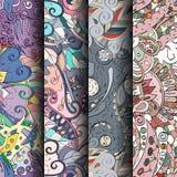 Sistema de modelos inconsútiles coloridos del tracery Curvado garabateando los fondos para la materia textil o imprimiendo con me Foto de archivo