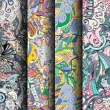 Sistema de modelos inconsútiles coloridos del tracery Curvado garabateando los fondos para la materia textil o imprimiendo con me Imagen de archivo libre de regalías
