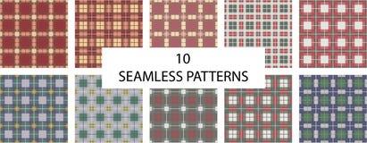 Sistema de 10 modelos inconsútiles Compruebe el modelo inconsútil de la textura de la tela escocesa Control inglés libre illustration
