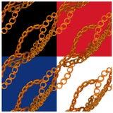 Sistema de modelos inconsútiles con las cadenas handdrawn del oro Foto de archivo libre de regalías
