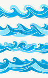 Sistema de modelos inconsútiles con las ondas estilizadas Fotos de archivo libres de regalías