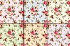 Sistema de modelos inconsútiles del vintage con las rosas Vector EPS-10 Fotos de archivo libres de regalías
