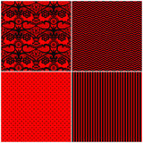 Sistema de modelos inconsútiles negros rojos, modelo simple, cordón Fotografía de archivo