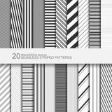 Sistema de modelos inconsútiles rayados, textura blanco y negro, vector eps10 Foto de archivo