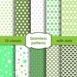 Sistema de modelos inconsútiles verdes clásicos con los puntos Fotos de archivo