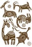 Sistema de modelos tradicionales africanos del vector con los animales ilustración del vector