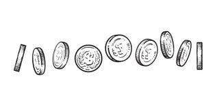 Sistema de monedas con símbolo del dólar en diversas posiciones Bosquejo blanco y negro del dinero de metal brillante en diferent ilustración del vector