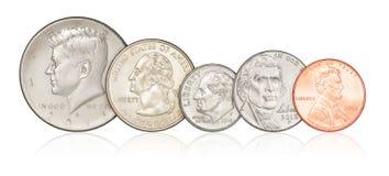 Sistema de monedas de los E.E.U.U. aisladas foto de archivo