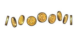 Sistema de monedas de oro con símbolo del dólar en diversas posiciones Bosquejo del dinero de metal brillante a diversos ángulos  stock de ilustración
