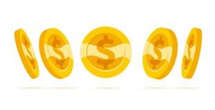 Sistema de monedas de oro del vector plano aisladas en el fondo blanco Imagenes de archivo