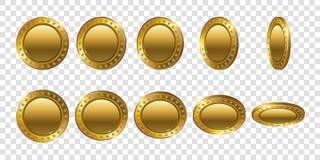 Sistema de monedas de oro realistas 3d Flip Different Angles Imagen de archivo