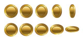 Sistema de monedas de oro vacías 3d Flip Different Angles Fotos de archivo libres de regalías