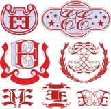 Sistema de monogramas de EE y de plantillas del emblema Foto de archivo
