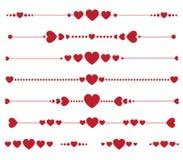 Sistema de monogramas de la tarjeta del día de San Valentín del vector con los corazones Imagen de archivo libre de regalías
