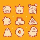 Sistema de monstruos de los iconos Imagen de archivo libre de regalías