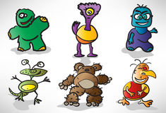 Sistema de monstruos divertidos de la historieta Imagen de archivo libre de regalías