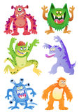 Sistema de monstruos divertidos de la historieta Foto de archivo libre de regalías
