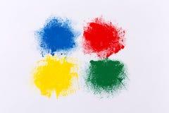 Sistema de movimientos coloridos del cepillo de la acuarela Imagen de archivo