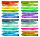 Sistema de movimientos coloridos del cepillo de la acuarela Foto de archivo libre de regalías