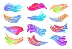 Sistema de movimientos coloridos del cepillo Elemento del diseño moderno Ilustración del vector ilustración del vector
