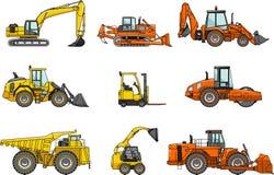 Sistema de máquinas de la construcción pesada Vector Fotos de archivo