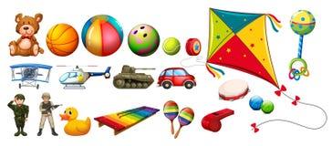 Sistema de muchos juguetes coloridos stock de ilustración