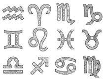 Sistema de muestras blancos y negros decorativas del zodiaco Imagenes de archivo