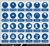 Sistema de muestras de la protección de la seguridad y sanidad ilustración del vector