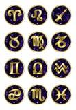 Sistema de muestras de oro del zodiaco Imagen de archivo libre de regalías