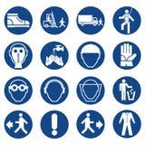 Sistema de muestras del equipo de seguridad Muestras obligatorias de la construcción y de la industria Colección de equipo de la  stock de ilustración