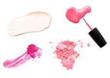 Sistema de muestras del maquillaje en el fondo blanco Imagen de archivo libre de regalías